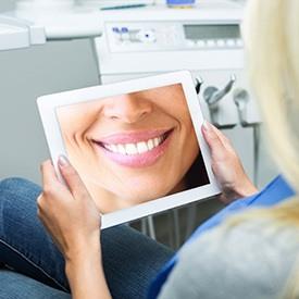 virtual smile on tablet